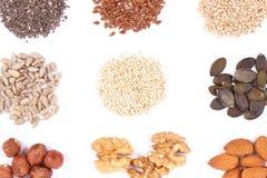 Comida nutritiva que contiene el hierro, los ácidos, las vitaminas, los minerales y la fibra, nutrición sana fotografía de archivo
