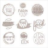 Comida orgánica Grey Logo Set de la granja Imagen de archivo