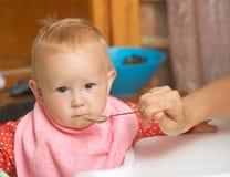 Comida para bebé com uma colher Imagem de Stock
