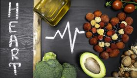 comida para el corazón, ricos con los antioxidantes, ácidos hidroclóricos monounsaturated foto de archivo