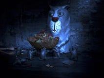 Comida para gatos del bebé del ratón del gato Imagen de archivo