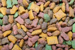 Comida para gatos en muchos forma imagen de archivo