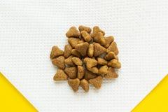 Comida para gatos seca en una servilleta, primer imagen de archivo libre de regalías