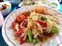 comida picante del somtum en Tailandia Foto de archivo libre de regalías