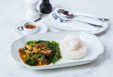 Comida picante tailandesa Krapao Gai Imagenes de archivo