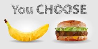 Comida, plátano y hamburguesa sanos, inscripción 'que usted elige 'Triangulación sana de la forma de vida, vector EPS 10 fotografía de archivo libre de regalías
