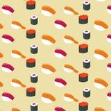 Comida plana de los rollos de sushi y rollos de sushi japoneses de los mariscos Vector ilustración del vector