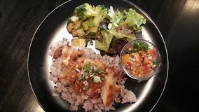 Comida/pollo anti, arroz y ensalada de la obesidad Imagen de archivo