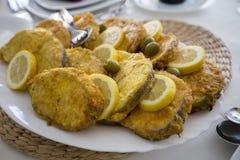 Comida portuguesa, pescado frito Fotos de archivo