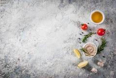 Comida que cocina el fondo Foto de archivo libre de regalías