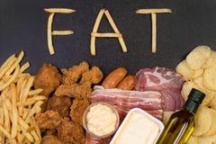 Comida que contiene la grasa Foto de archivo libre de regalías