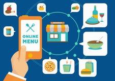 Comida que ordena en línea con el uso del smartphone ilustración del vector
