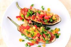 Comida rellena de la berenjena para el vegetariano foto de archivo