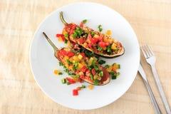 Comida rellena de la berenjena para el vegetariano fotografía de archivo