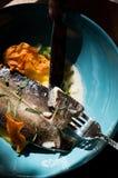 Comida sabrosa y sana Una porción hermosa de la comida Comida del restaurante fotografía de archivo