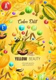 Comida sana amarilla de la dieta del color, salud de la piel ilustración del vector