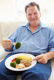 Comida sana antropófaga gorda que se sienta en el sofá Imagen de archivo