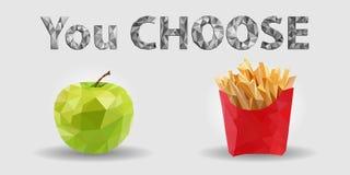 Comida sana, Apple verde y patatas fritas, inscripción 'que usted elige 'Triangulación sana de la forma de vida, vector EPS 10 fotos de archivo libres de regalías