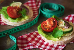 Comida sana - bocadillos, tortas de arroz con la lechuga, tomate, cucu Fotos de archivo libres de regalías