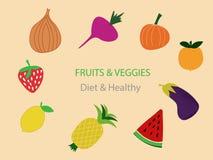 Comida sana de las frutas y verduras - vector ilustración del vector