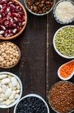 Comida sana, dieta, concepto de la nutrición, proteína del vegano y fuente del carbohidrato imágenes de archivo libres de regalías