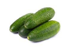 Comida sana. Los pepinos verdes aislados en el fondo blanco Fotos de archivo libres de regalías