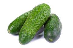 Comida sana. Los pepinos verdes aislados en el fondo blanco Foto de archivo