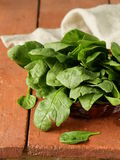 Comida sana orgánica de la espinaca verde fresca Imagen de archivo