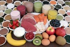 Comida sana y bebidas del culturismo imagen de archivo libre de regalías