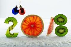 Comida sana y dieta de los días de fiesta Decisiones del ` s del Año Nuevo sobre una forma de vida sana Imagenes de archivo