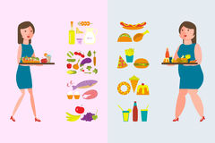 Comida sana y grasa foto de archivo libre de regalías