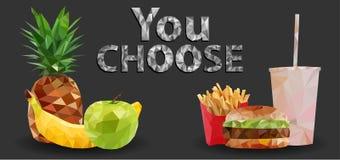 Comida sana y malsana, alimentos de preparación rápida Apple verde, plátano, piña y hamburguesa, patatas fritas, inscripción de l foto de archivo