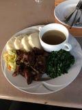 Comida servida con la sopa Fotos de archivo