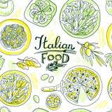 Comida simpless del italiano del modelo del mano-drenaje hermoso Imagen de archivo libre de regalías