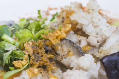 Comida tailandesa del desayuno del arroz del ruido de fondo Fotografía de archivo