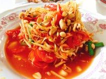 Comida tailandesa deliciosa; ensalada de la papaya imagen de archivo