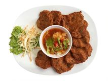 Comida tailandesa Fried Fish Cakes Imagen de archivo libre de regalías