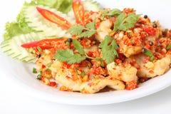 Comida tailandesa, fuego del chile de los pescados imagen de archivo