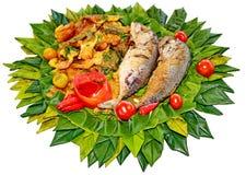 Comida tailandesa Nam Prik Kapi, inmersión del chile de la goma del camarón Fotos de archivo