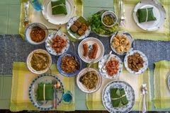 Comida tailandesa septentrional local deliciosa del estilo incluyendo la salchicha picante, el cerdo frito, las cortezas del cerd fotografía de archivo