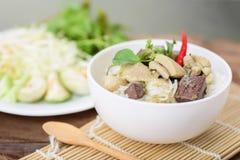 Comida tailandesa, tallarines de arroz con el pollo verde del curry Foto de archivo