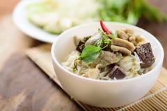 Comida tailandesa, tallarines de arroz con el pollo verde del curry Fotos de archivo libres de regalías