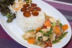Comida Tailandia de la salchicha del pollo del arroz Imagen de archivo