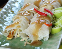 Comida tradicional china de los rollos de primavera Imágenes de archivo libres de regalías