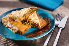 Comida tradicional china frita de los rollos de primavera Foto de archivo
