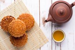 Comida tradicional de la torta china de la luna para el festiv chino del mediados de-otoño Fotografía de archivo