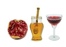Comida tradicional para Rosh Hashanah - Año Nuevo judío Imagenes de archivo