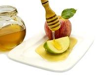 Comida tradicional para Rosh Hashanah - Año Nuevo judío Imagen de archivo libre de regalías