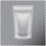 Comida transparente de la hoja o bolso cosmético de la bolsita de la bolsa del paquete que empaqueta con la cremallera Mofa del v stock de ilustración