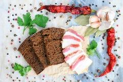 Comida ucraniana Tocino en el pan de centeno Aún vida hermosa Fondo de especias Especia en el mármol Fotos de archivo